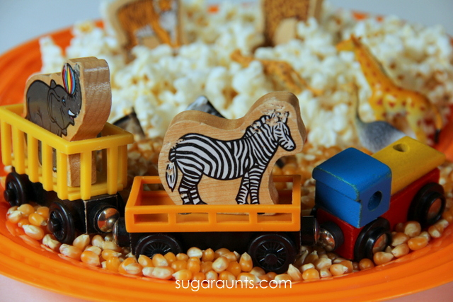 Use circus train and circus animals in an easy sensory bin