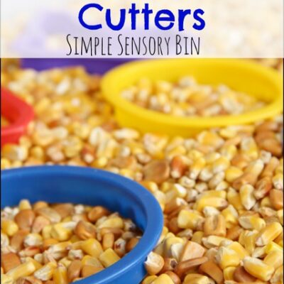 Corn and Cookie Cutter Simple Sensory Bin