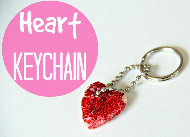 heart keychain made with salt dough