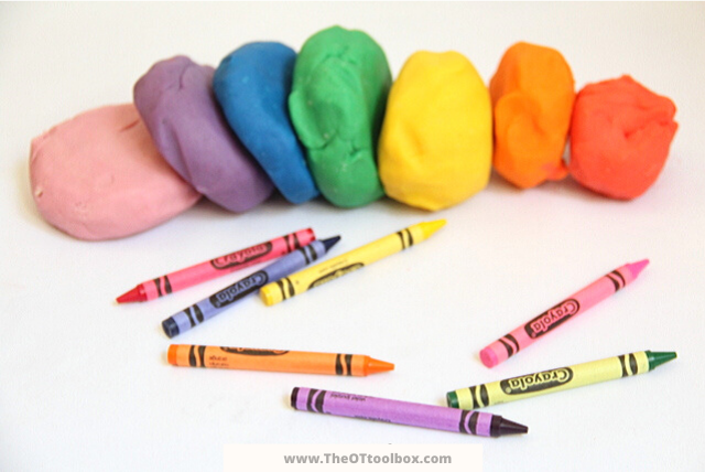 This DIY crayon play dough recipe is great for kids.