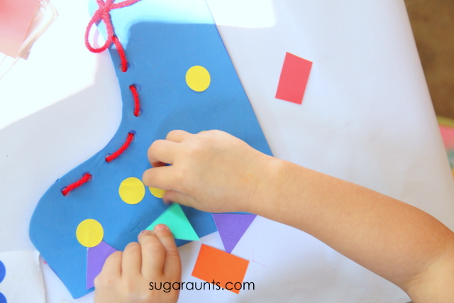 Shoe tying craft for kids