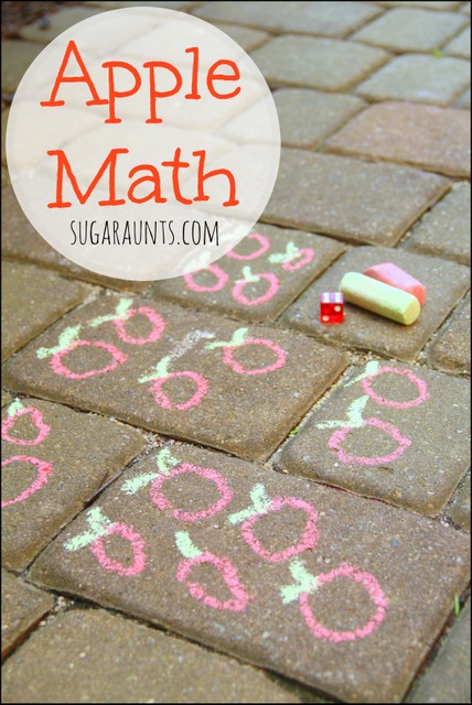 Kindergarten and Preschool students will enjoy this math activity using apples or other objects with chalk.  One to one correspondence, dice math, counting