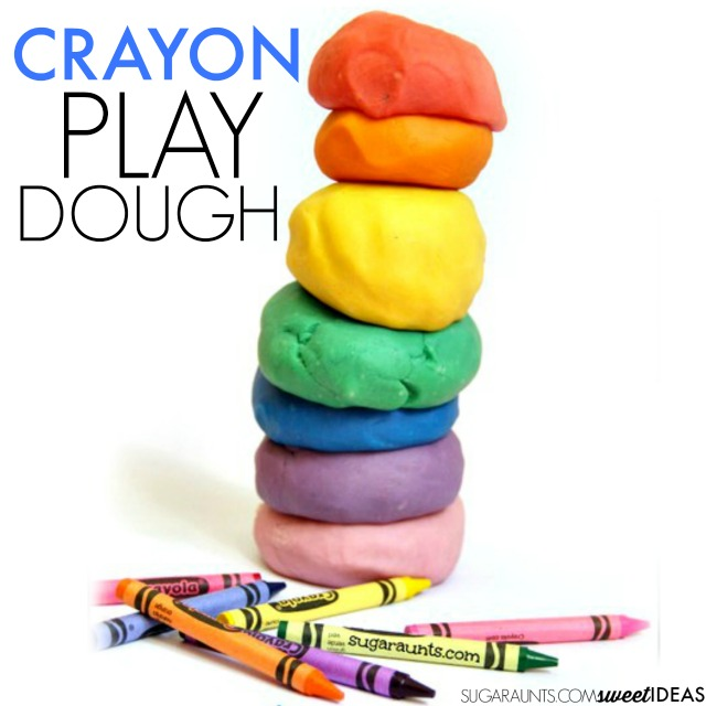 Use broken crayons to make your own crayon play dough recipe