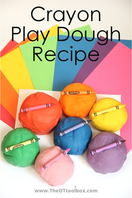 How to make crayoon play dough. Use this crayon recipe as a sensory play activity