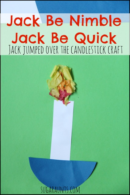 Jack Be Nimble Jack Be Quick, Jack jumped over the candle stick craft for nursery rhyme loving toddlers and preschoolers.