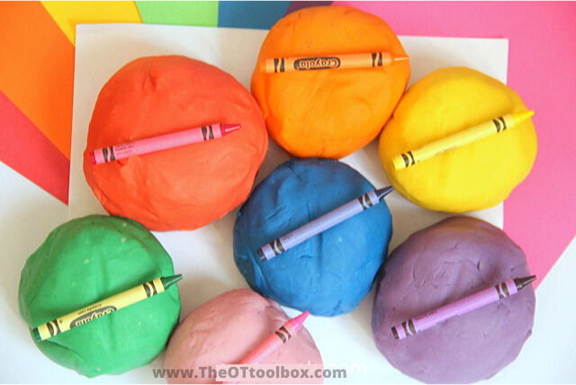 Use broken crayons to make rainbow crayon play dough recipe.