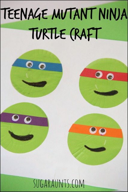 Teenage Mutant Ninja Turtle cupcake liner craft. From Sugar Aunts