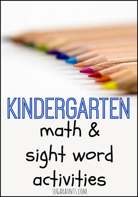 Kindergarten activities for math and sight words.  These are great ideas for homeschool or home supplement.