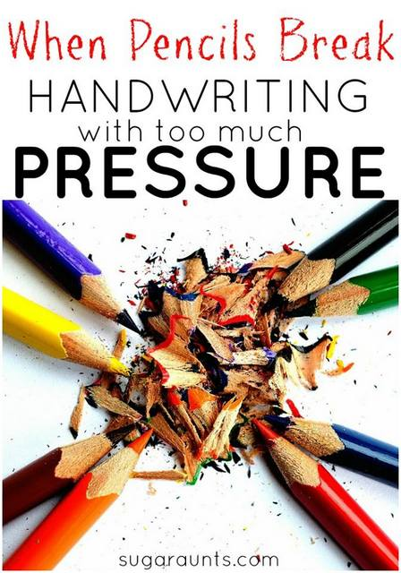 Tips and tools for kids who write with too much pressure in handwriting.  Does your child write or color so hard that the pencil breaks?  Writing too hard makes handwriting difficult to read and effectively write.
