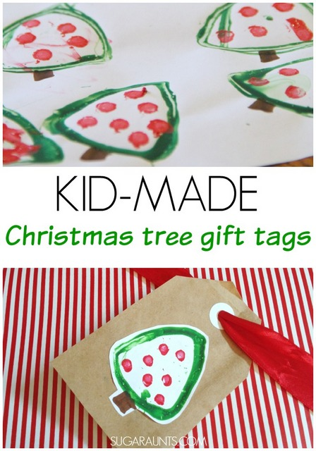 Cute Christmas tree gift tags kids can make after making toilet paper roll Christmas tree stamp art.