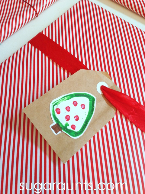 Christmas tree name tags that kids can make for holiday gift giving