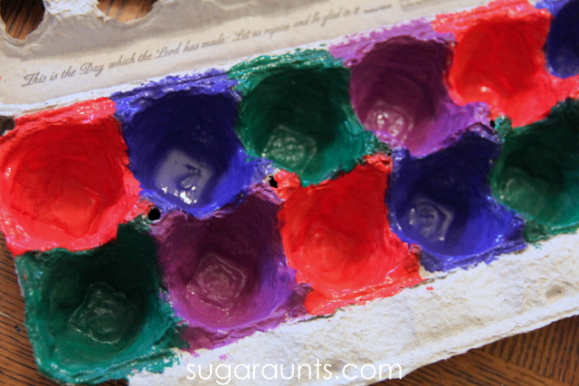 Paint the egg carton for a jingle bell sorting activity.