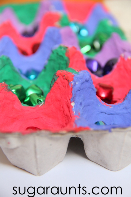 Christmas jingle bells for kids to work on fine motor skills.