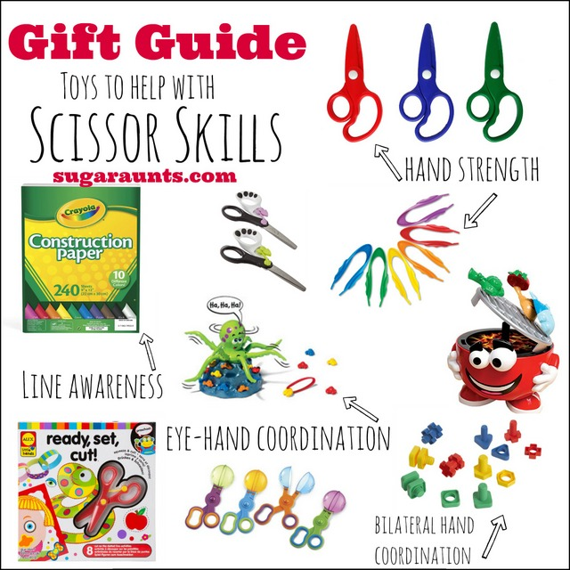 Toys and ideas to work on scissor skills in kids.  These are great gift ideas for preschoolers and Toddlers.