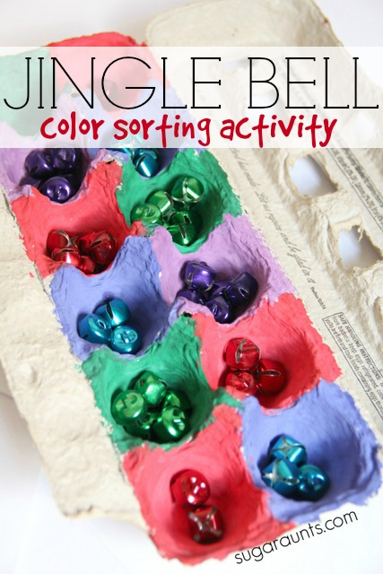 Jingle bell color sorting activity. This is a fun busy bag activity that will keep the kids occupied for a little while!