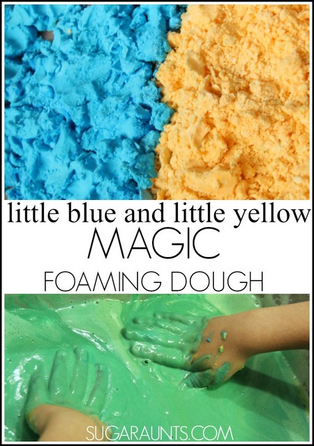 Magic foaming dough to explore the book, Little Blue and Little Yellow