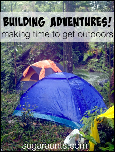 Getting kids outside with adventures.  Ideas for making time to get outside with the family.  Who needs screen time??