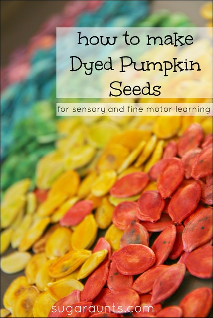 How to dye pumpkin seeds for sensory play for kids.