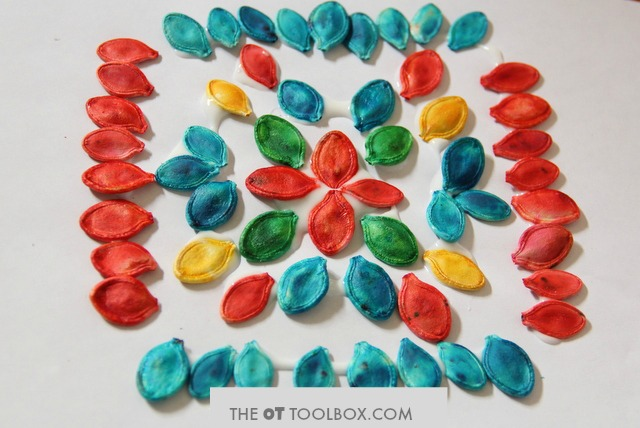 How to dye pumpkin seeds to use in a Fall mandala craft.