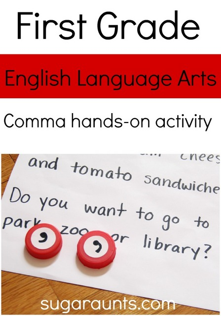 Hands on comma activity for first grade English Language Arts