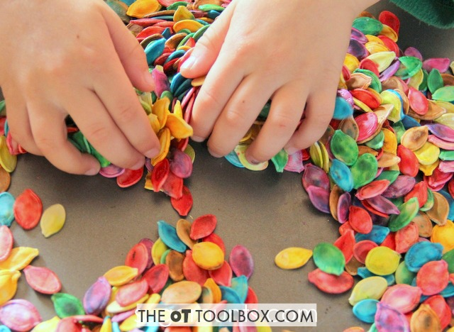 Wondering how to dye pumpkin seeds and use in sensory play?