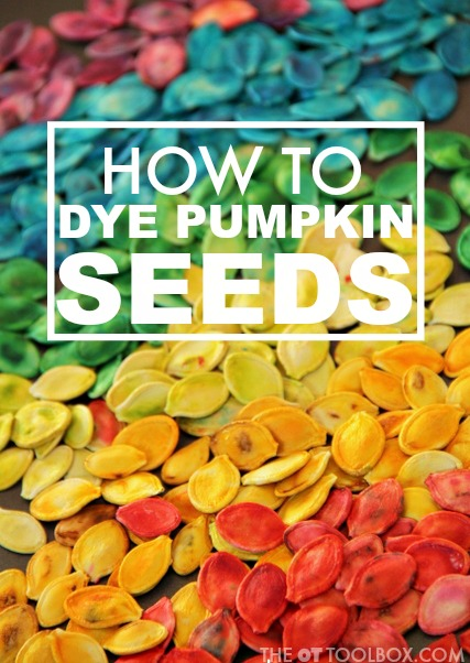 Use these instructions on how to dye pumpkin seeds to make colored pumpkin seeds for fine motor and sensory play with kids.