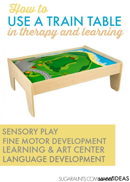 Use a train table in therapy, sensory play, fine motor development, learning, crafts at home and at school.
