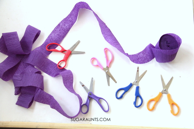 Kids will love this easy scissor skills practice activity using crepe paper streamers!