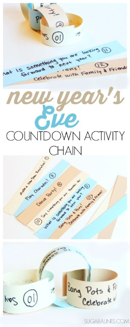 New Year's Eve activity countdown for ids paper chain craft