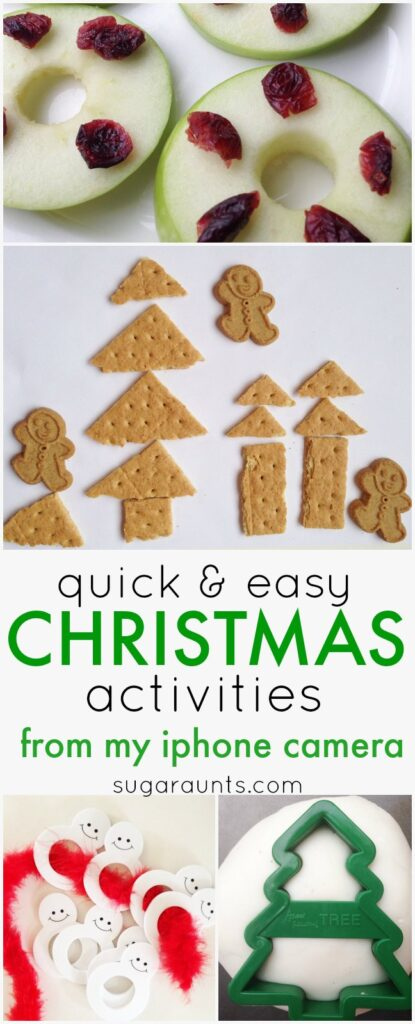 Quick and easy activities for busy families this Christmas: snacks, fine motor, math, all with an easy set-up and clean-up.