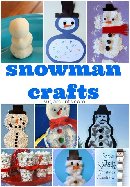 Snowman craft, snacks, art, and activities for kids this winter
