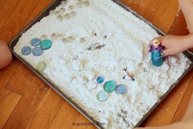 Snow dough pretend play activity for kids