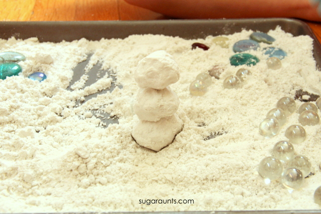 Indoor snow play idea with fake snow