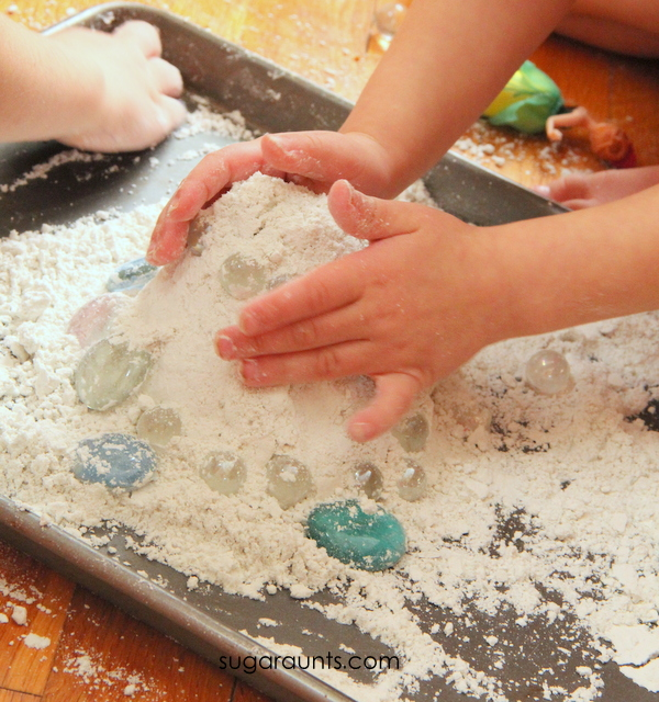 Indoor snow play with snow dough