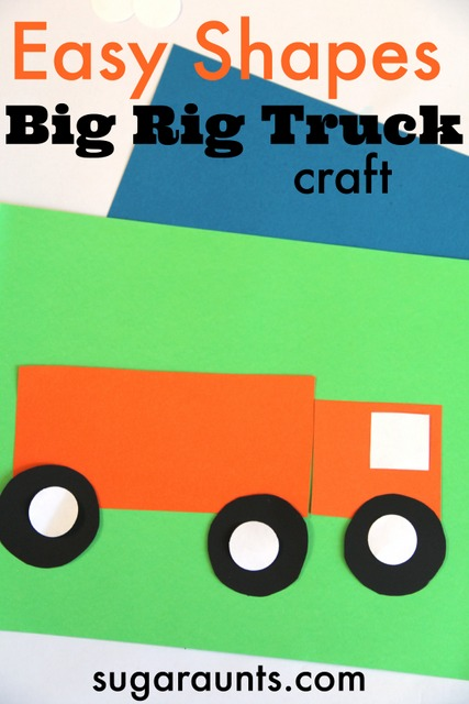 This Big Rig Truck craft uses easy shapes and is fun for your little vehicle lover!