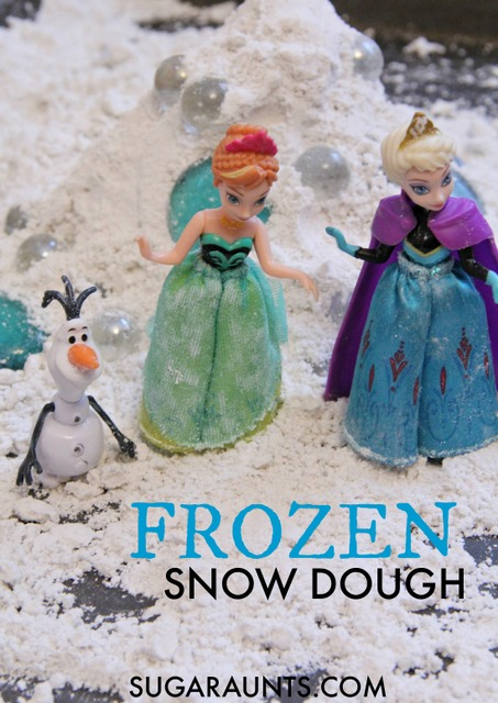 Frozen snow dough for sensory play using characters from Frozen