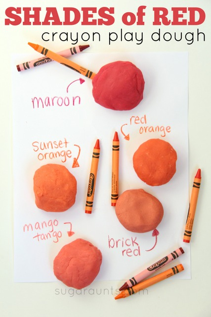 Shades of red play dough using crayons! Save those broken crayon pieces!