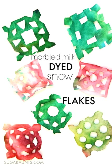 make beautiful napkin snowflakes using a marbled milk dying process.