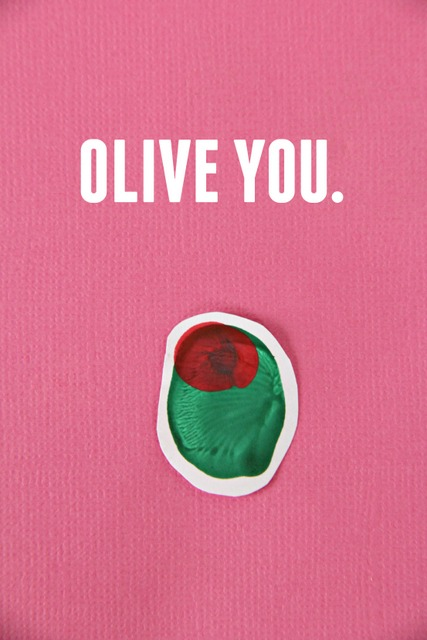 Olive You thumbprint art for Valentine's Day (or any day!)