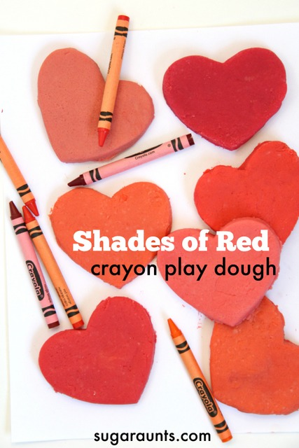Make a bunch of different shades of red crayon play dough using a pack of crayons!