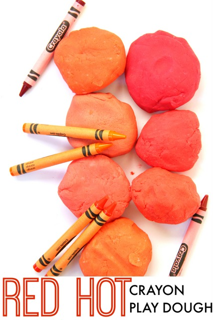 Use Red Hot crayons from Crayola to make different shades of red play dough with bright and bold colors.  Very vivid red play dough!