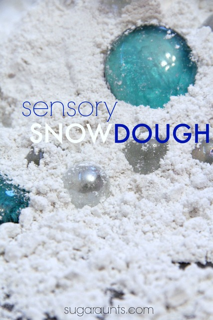 Sensory snow dough is fun for pretend play and indoor snow fun!