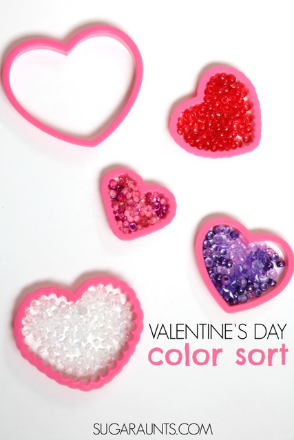 valentines day color sorting fine motor activity