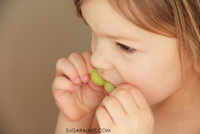 Frozen grapes healthy snack for kids.