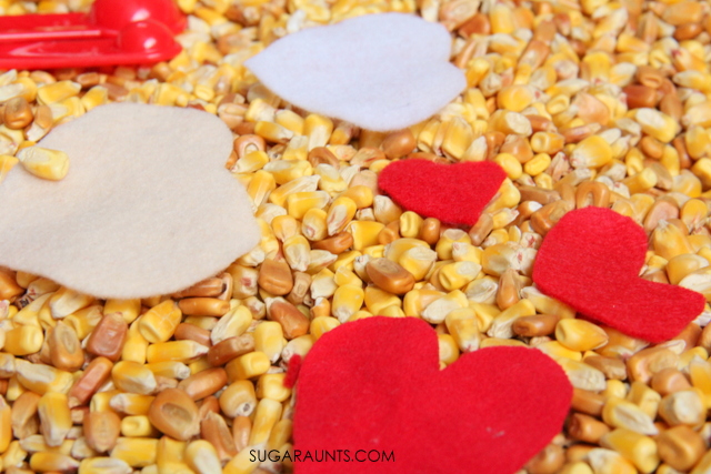 heart sensory bin. This is fun for Valentine's Day!