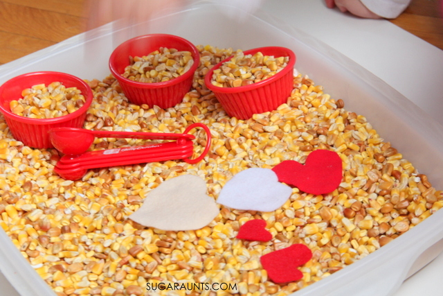 Valentines Sensory bin for kids to help with fine motor skills