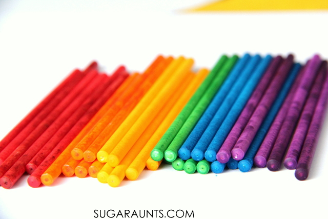 Use rainbow lollipop sticks for play, math, patterns and colorful learning with kids!