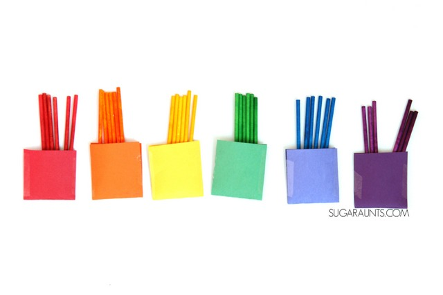 Rainbow lollipop color sorting busy bag
