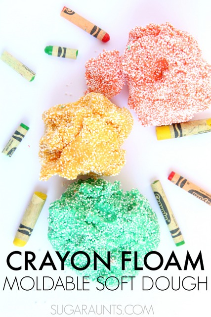 Use broken crayons to make homemade Crayon floam dough in less than 15 minutes.  So easy and a fun sensory play floam.