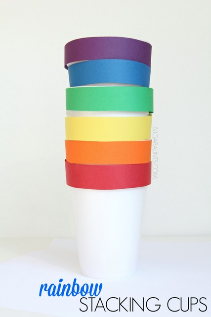 DIY Rainbow Stacking Cups for color identification, color order, and learning rainbows with this stacking and building nesting toy.